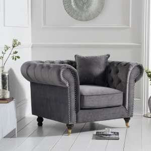 Holbrook Chesterfield Sofa Chair In Grey Velvet