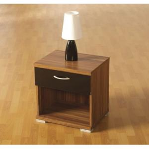 Hollywood Bedside Cabinet In Walnut With 1 Drawer