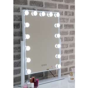 Hollywood Large Swivel Dressing Mirror In White High Gloss Frame