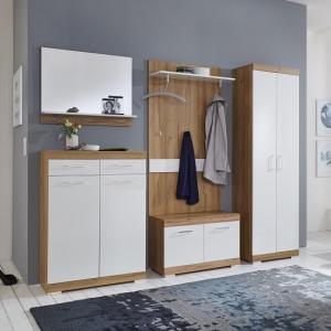 Holte Wooden Hallway Furniture Set In Oak And Glossy White