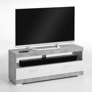 Holte TV Stand In Light Atelier And White Gloss With 2 Drawers