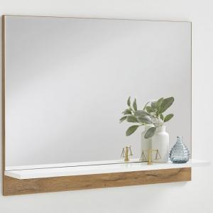 Holte Wall Mirror In Oak With Glossy White Shelf
