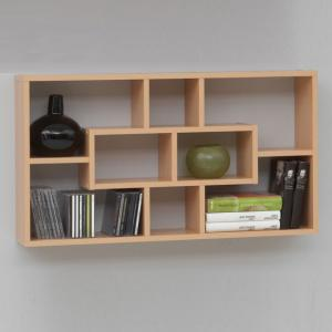Lasse Bookcase Wall Shelves In Beech With 8 Compartments