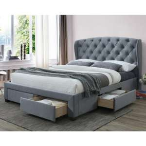 Hope Fabric Double Bed In Grey Velvet