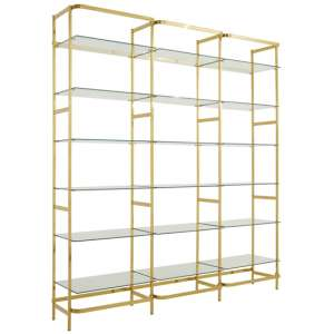 Fafnir Bookshelf With Clear Glass Tiers In Gold