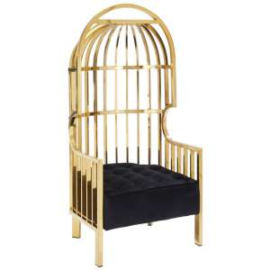 Fafnir Cage Design Occasional Chair In Gold