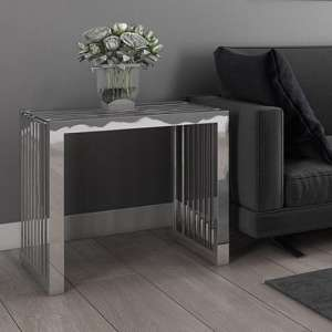 Horizon Clear Glass Side Table With Stainless Steel Frame