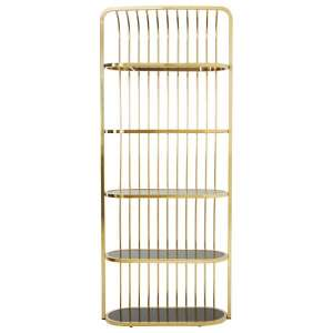 Fafnir Gold Cage Design Bookshelf With 5 Black Glass Shelves