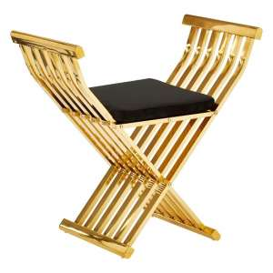 Fafnir Gold Cross Design Occasional Chair With Black Cushion