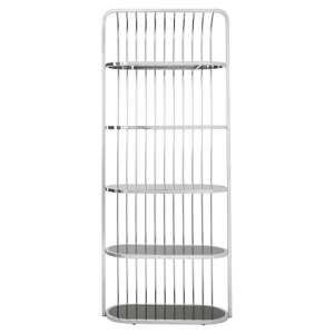 Fafnir Silver Cage Design Bookshelf With 5 Black Glass Shelves