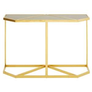 Horizon Black Tempered Glass Console Table With Gold Frame