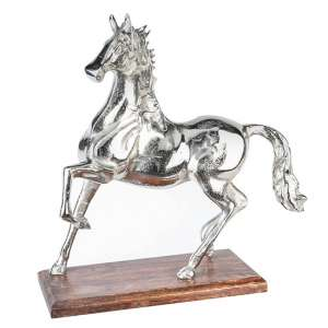 Horse Sculpture In Antique Aluminium With Brown Wooden Base
