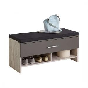 Hoskin Shoe Bench In Sand Oak And Lava With 1 Drawer