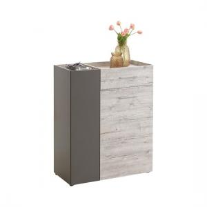 Hoskin Shoe Cabinet In Sand Oak And Lava With 2 Doors