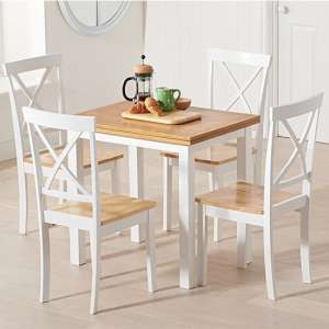 Hove Extending Light Oak And White Dining Table With 4 Chairs