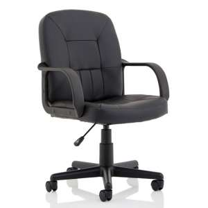Hove Leather Executive Office Chair In Black With Arms
