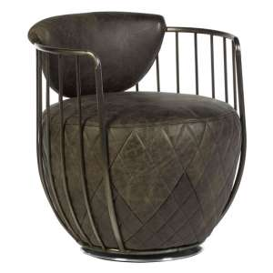 Hoxman Faux Leather Swivel Accent Chair In Ebony