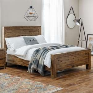 Hoxton Wooden King Size Bed In Rustic Oak