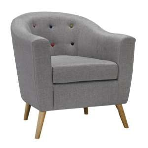 Hudson Linen Fabric Buttoned Lounge Chair In Grey