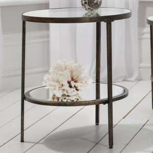Hudson Mirrored Side Table In Bronze