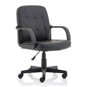Hugo Leather Office Chair In Black With Arms