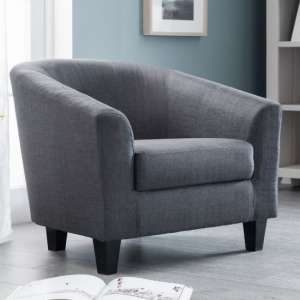 Hugo Linen Fabric Tub Chair In Slate Grey