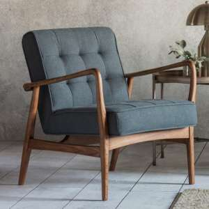Humber Linen Upholstered Armchair In Dark Grey