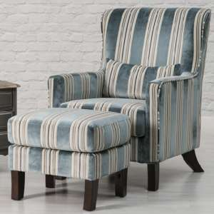 Humphrey Fabric Accent Chair And Footstool In Blue