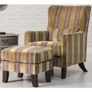Humphrey Fabric Accent Chair And Footstool In Gold