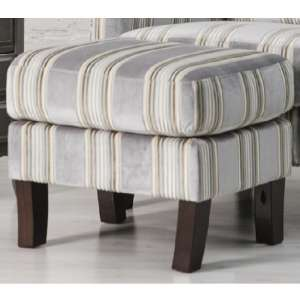 Humphrey Fabric Footstool In Grey With Wooden Feet