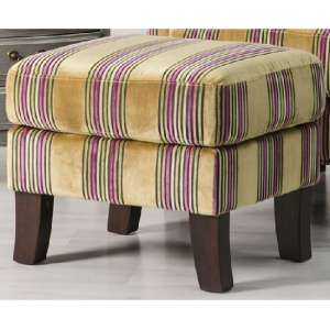 Humphrey Fabric Footstool In Gold With Wooden Feet