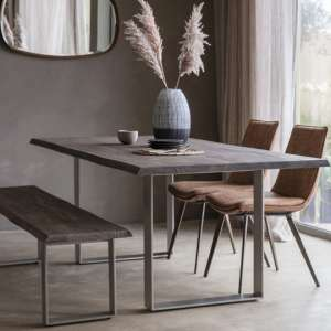 Huntington Wooden Dining Bench In Grey With Metal Stand