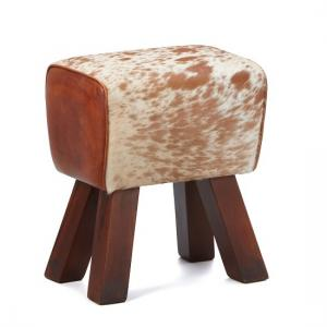 Hurst Stool In Cream And Brown Leather With Solid Wooden Legs