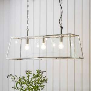 Hurst Three Pendant Light With Glass Frame