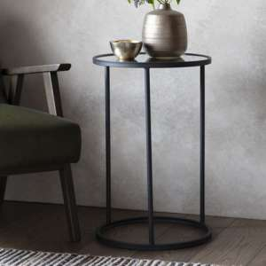 Hutton Glass Side Table In Black
