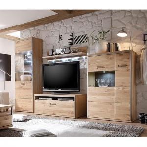 Huxley Wooden Living Room Set 1 In Bianco Oak And LED