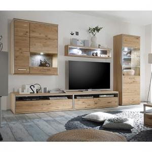 Huxley Wooden Living Room Set 4 In Bianco Oak And LED