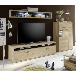Huxley Wooden Living Room Set 5 In Bianco Oak And LED