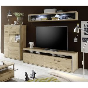 Huxley Wooden Living Room Set 6 In Bianco Oak And LED