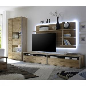 Huxley Wooden Living Room Set 7 In Bianco Oak And LED
