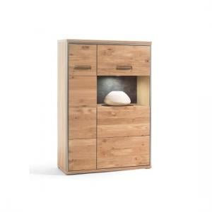 Huxley Left Combi Highboard In Bianco Oak With 2 Doors And LED