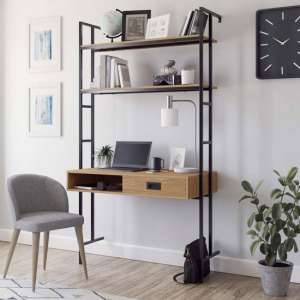 Hythe Wooden Wall Mounted Laptop Desk In Walnut With 2 Shelves