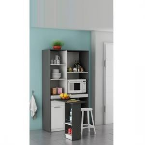 Hyttan Kitchen Display Cabinet In White And Graphite Grey