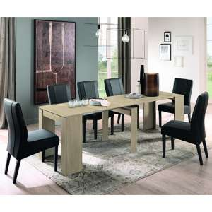 Iconic Extending Elm Oak Wooden Dining Table With 8 Miko Chairs