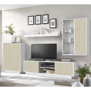 Iconic LED Living Room Furniture Set In White Gloss And Elm Oak