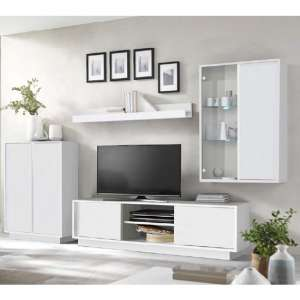 Iconic LED Wooden Living Room Furniture Set In White High Gloss