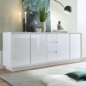 Iconic Sideboard In White High Gloss With 4 Doors And 3 Drawers