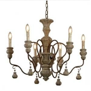 Ida 6 Light Pendant In Rustic Brown Weathered Wood
