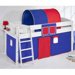 Lilla Children Bed In White With Blue Red Curtains