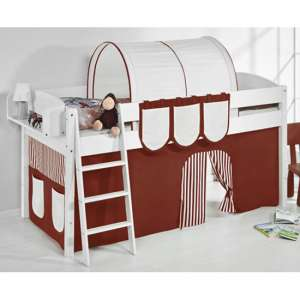 Lilla Children Bed In White With Brown Curtains